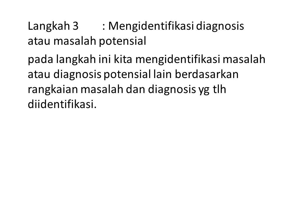 Langkah 3 : Mengidentifikasi diagnosis atau masalah potensial pada langkah ini kita mengidentifikasi masalah atau diagnosis potensial lain berdasarkan rangkaian masalah dan diagnosis yg tlh diidentifikasi.