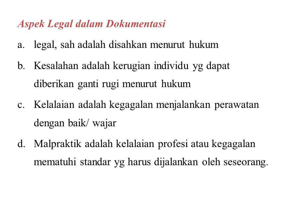 Aspek Legal dalam Dokumentasi