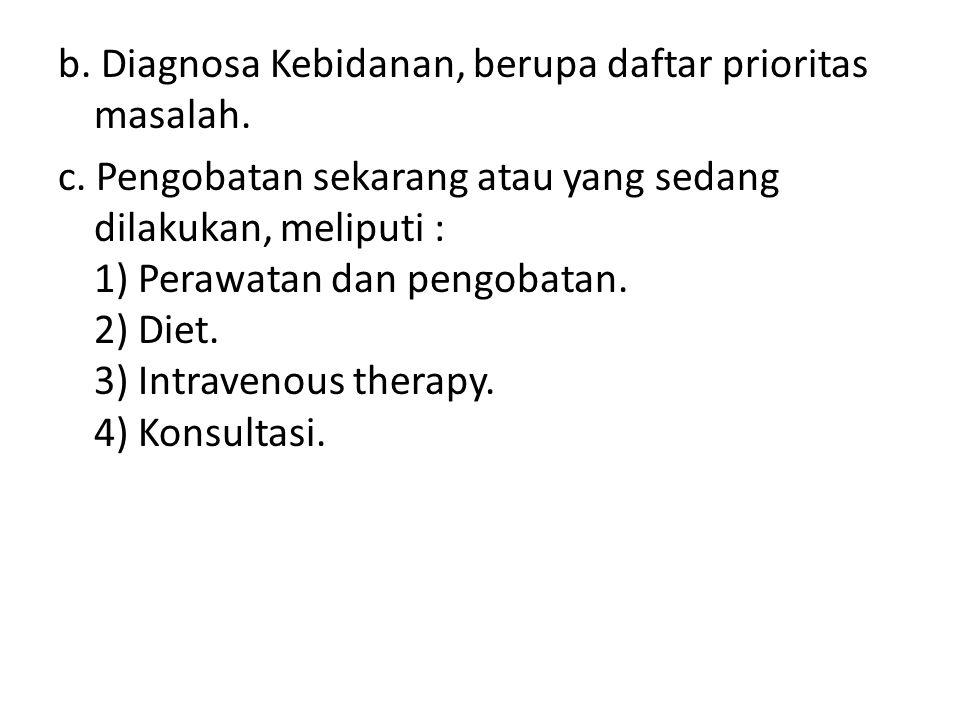 b. Diagnosa Kebidanan, berupa daftar prioritas masalah. c