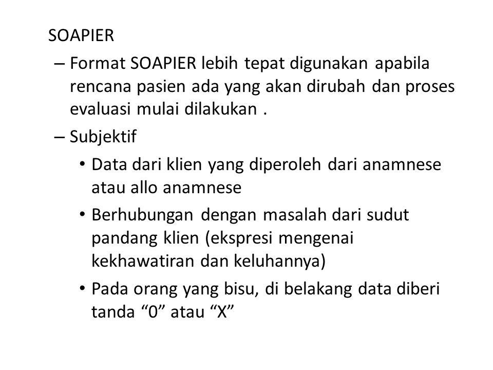 SOAPIER Format SOAPIER lebih tepat digunakan apabila rencana pasien ada yang akan dirubah dan proses evaluasi mulai dilakukan .