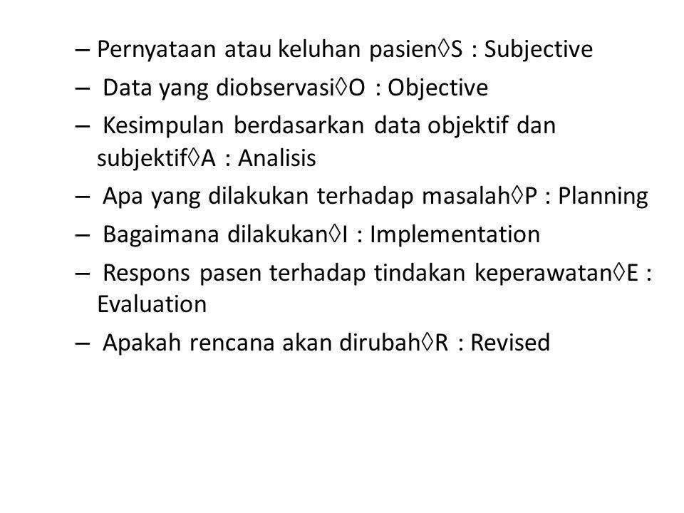Pernyataan atau keluhan pasienS : Subjective