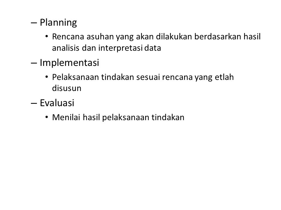Planning Implementasi Evaluasi