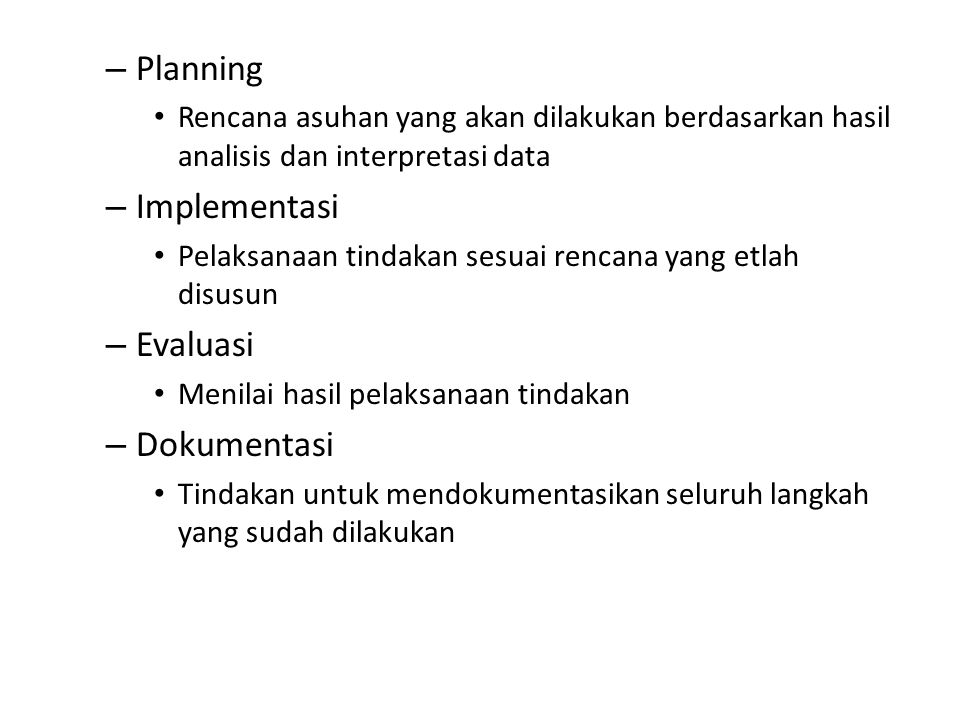 Planning Implementasi Evaluasi Dokumentasi