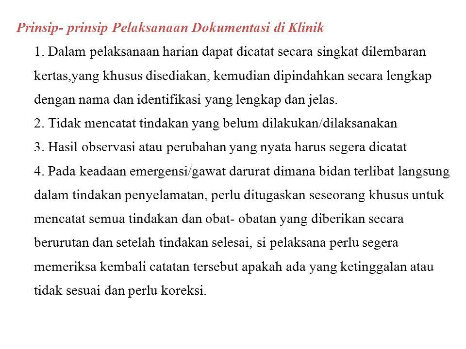 Prinsip- prinsip Pelaksanaan Dokumentasi di Klinik 1