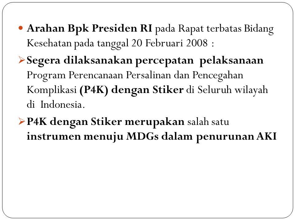 Arahan Bpk Presiden RI pada Rapat terbatas Bidang Kesehatan pada tanggal 20 Februari 2008 :