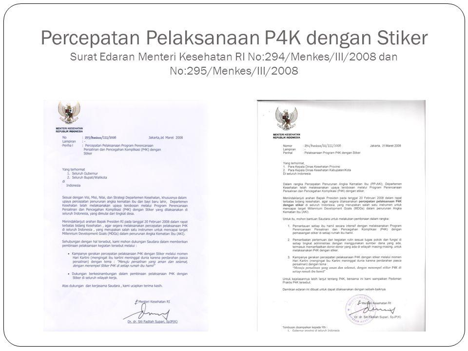Percepatan Pelaksanaan P4K dengan Stiker Surat Edaran Menteri Kesehatan RI No:294/Menkes/III/2008 dan No:295/Menkes/III/2008