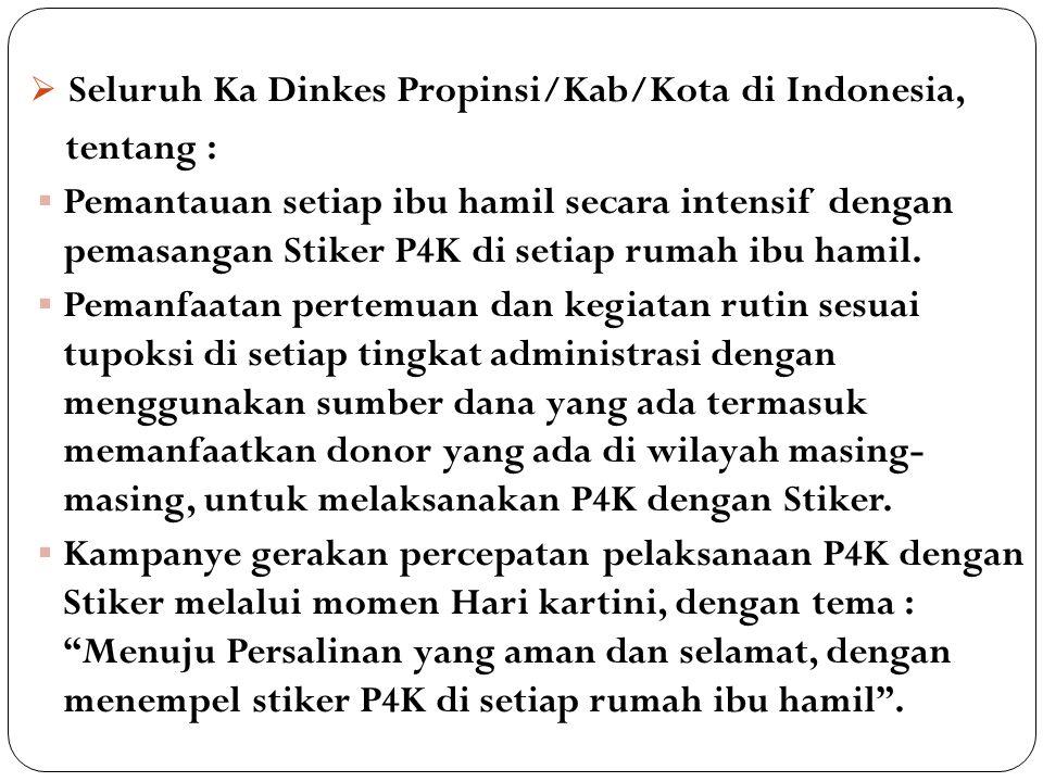 Seluruh Ka Dinkes Propinsi/Kab/Kota di Indonesia,