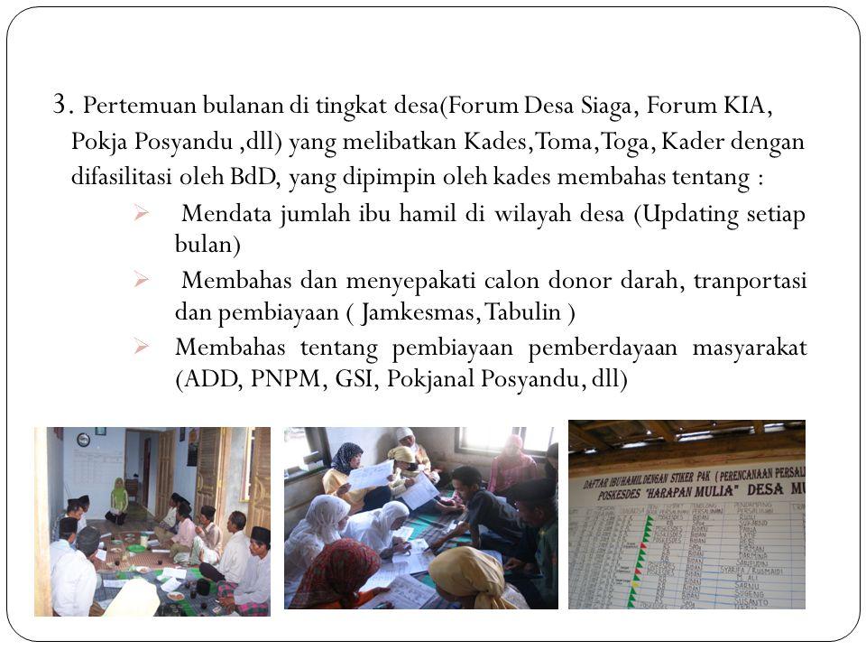 3. Pertemuan bulanan di tingkat desa(Forum Desa Siaga, Forum KIA, Pokja Posyandu ,dll) yang melibatkan Kades,Toma,Toga, Kader dengan difasilitasi oleh BdD, yang dipimpin oleh kades membahas tentang :