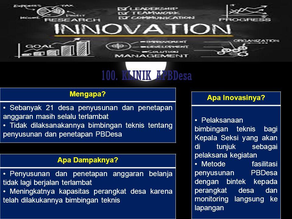 100. KLINIK APBDesa Mengapa Apa Inovasinya
