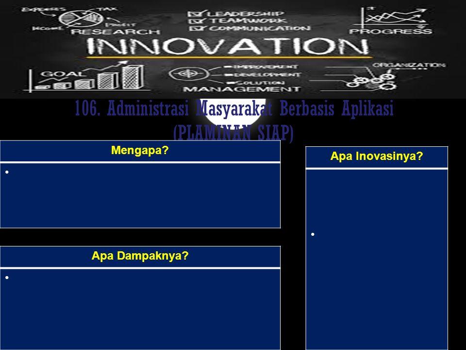 106. Administrasi Masyarakat Berbasis Aplikasi (PLAMINAN SIAP)