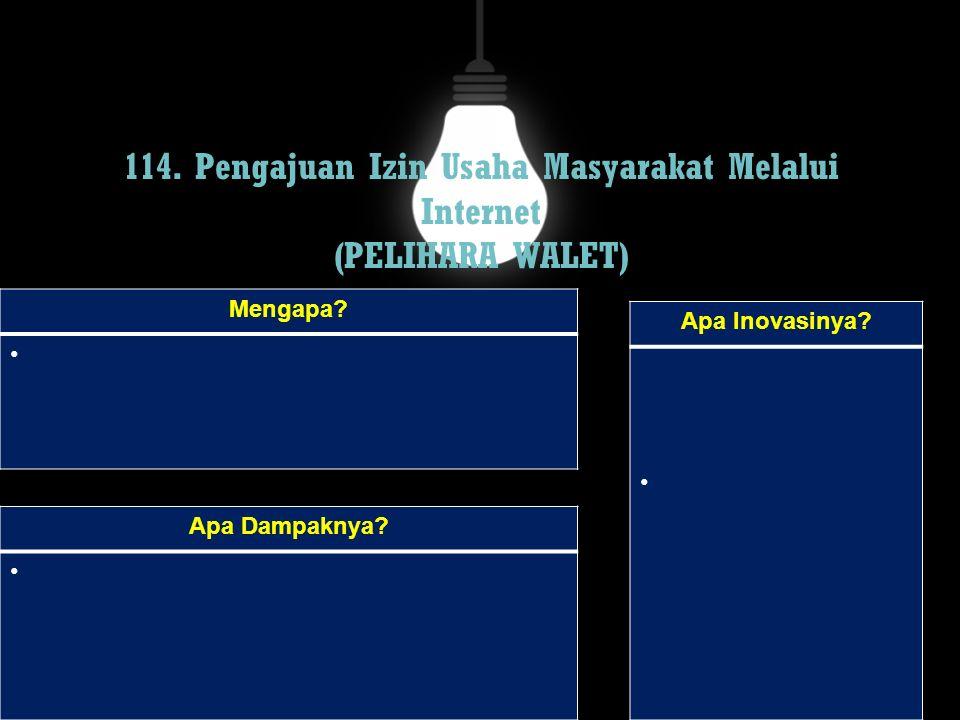 114. Pengajuan Izin Usaha Masyarakat Melalui Internet (PELIHARA WALET)