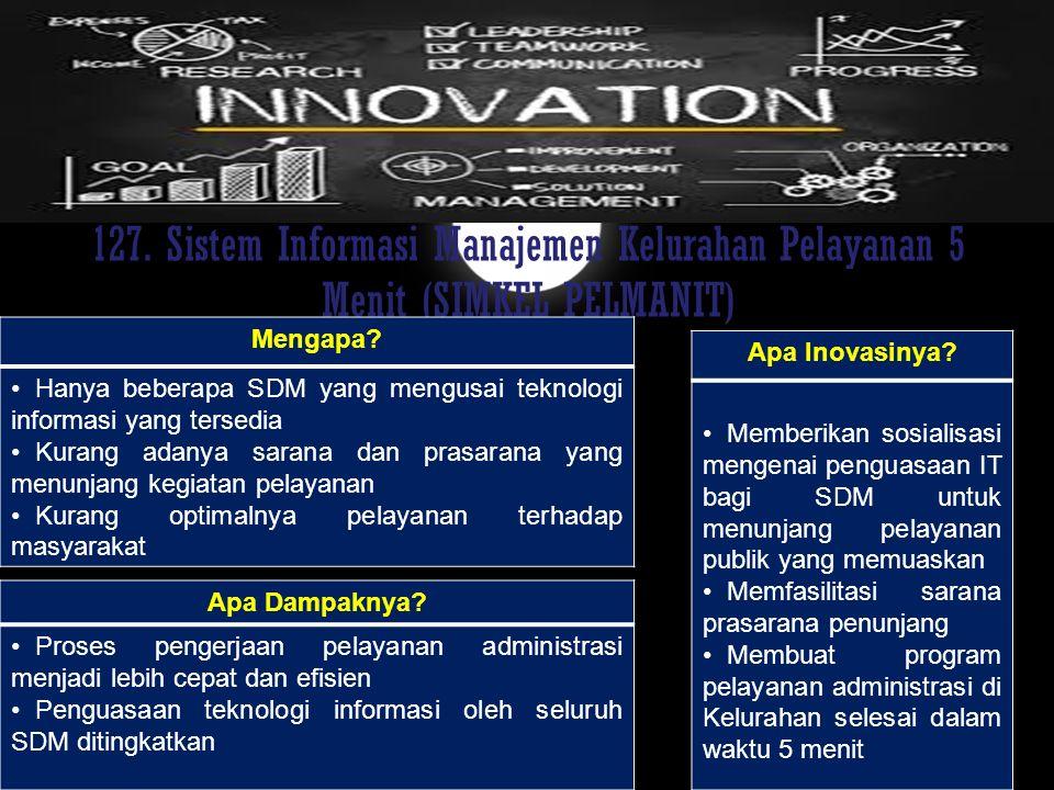 127. Sistem Informasi Manajemen Kelurahan Pelayanan 5 Menit (SIMKEL PELMANIT)