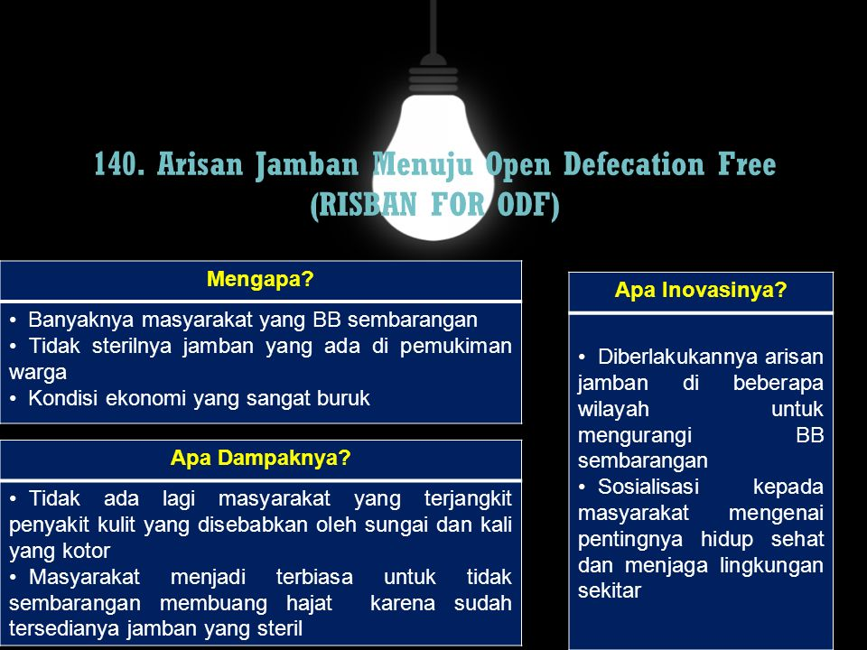 140. Arisan Jamban Menuju Open Defecation Free (RISBAN FOR ODF)