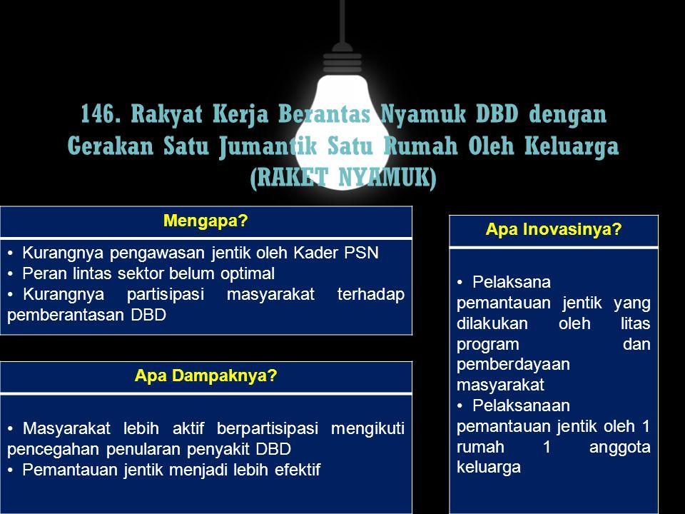 146. Rakyat Kerja Berantas Nyamuk DBD dengan Gerakan Satu Jumantik Satu Rumah Oleh Keluarga (RAKET NYAMUK)