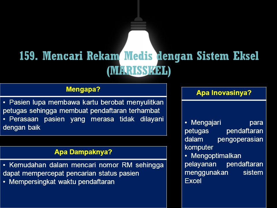 159. Mencari Rekam Medis dengan Sistem Eksel (MARISSKEL)