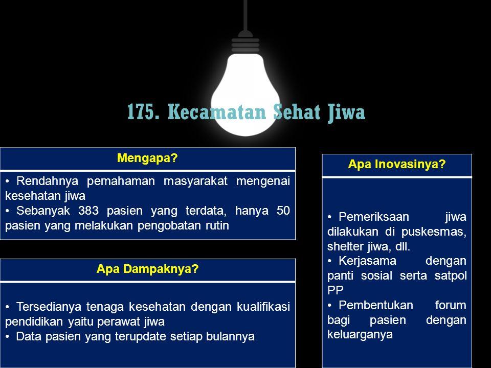 175. Kecamatan Sehat Jiwa Mengapa Apa Inovasinya