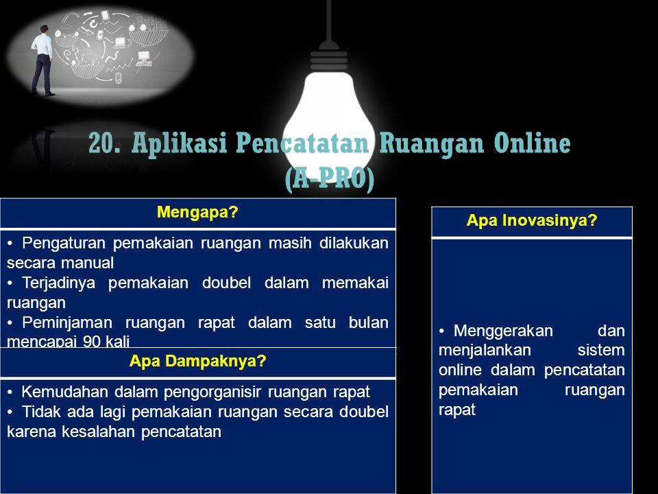 20. Aplikasi Pencatatan Ruangan Online (A-PRO)