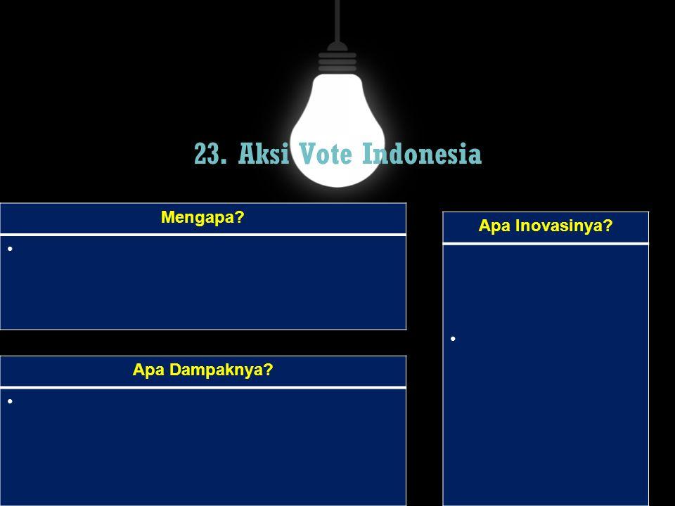 23. Aksi Vote Indonesia Mengapa Apa Inovasinya Apa Dampaknya