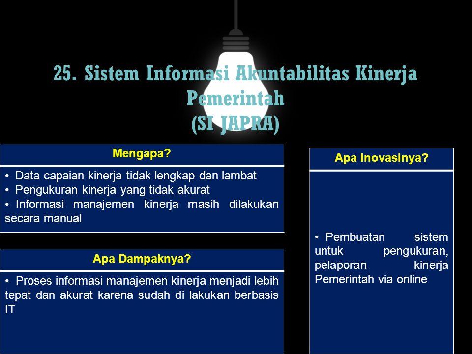 25. Sistem Informasi Akuntabilitas Kinerja Pemerintah (SI JAPRA)