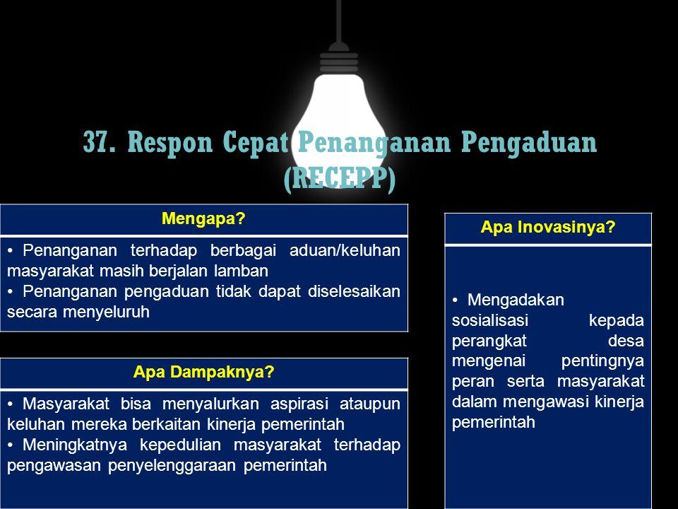 37. Respon Cepat Penanganan Pengaduan (RECEPP)