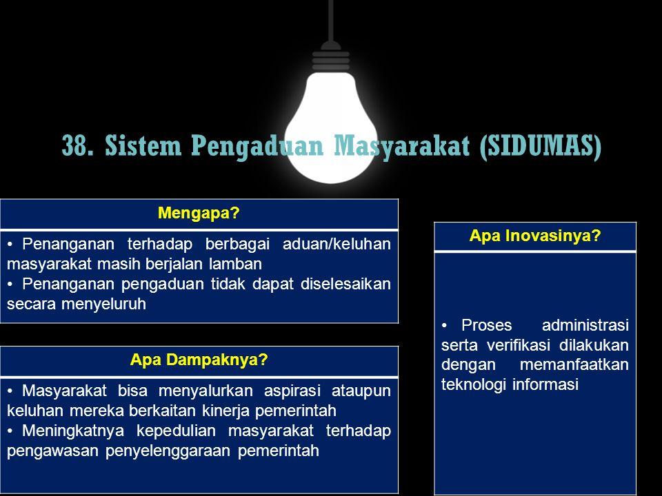 38. Sistem Pengaduan Masyarakat (SIDUMAS)