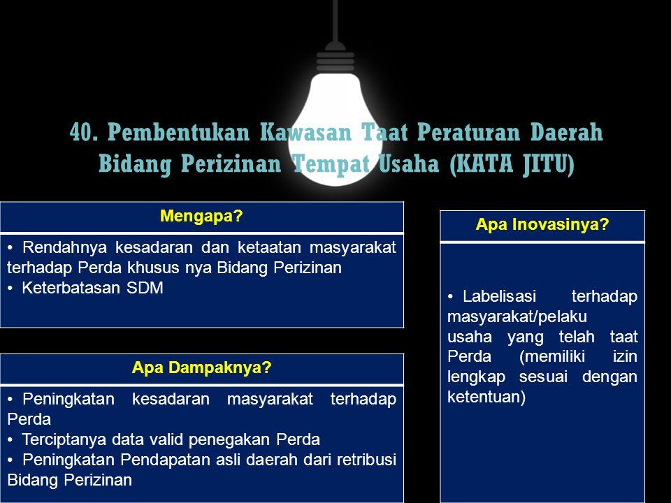 40. Pembentukan Kawasan Taat Peraturan Daerah Bidang Perizinan Tempat Usaha (KATA JITU)