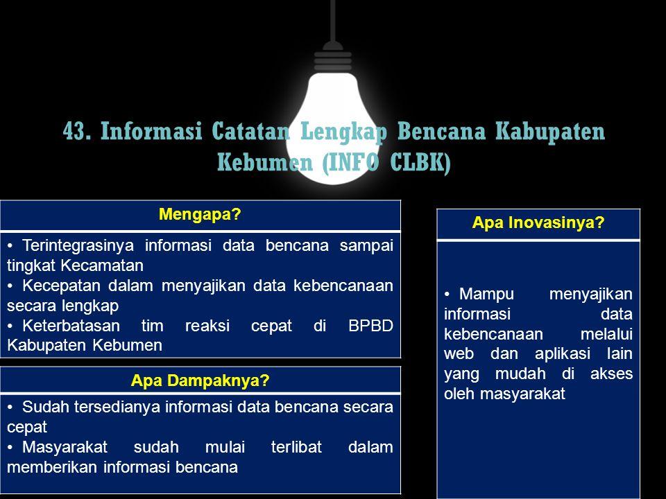 43. Informasi Catatan Lengkap Bencana Kabupaten Kebumen (INFO CLBK)