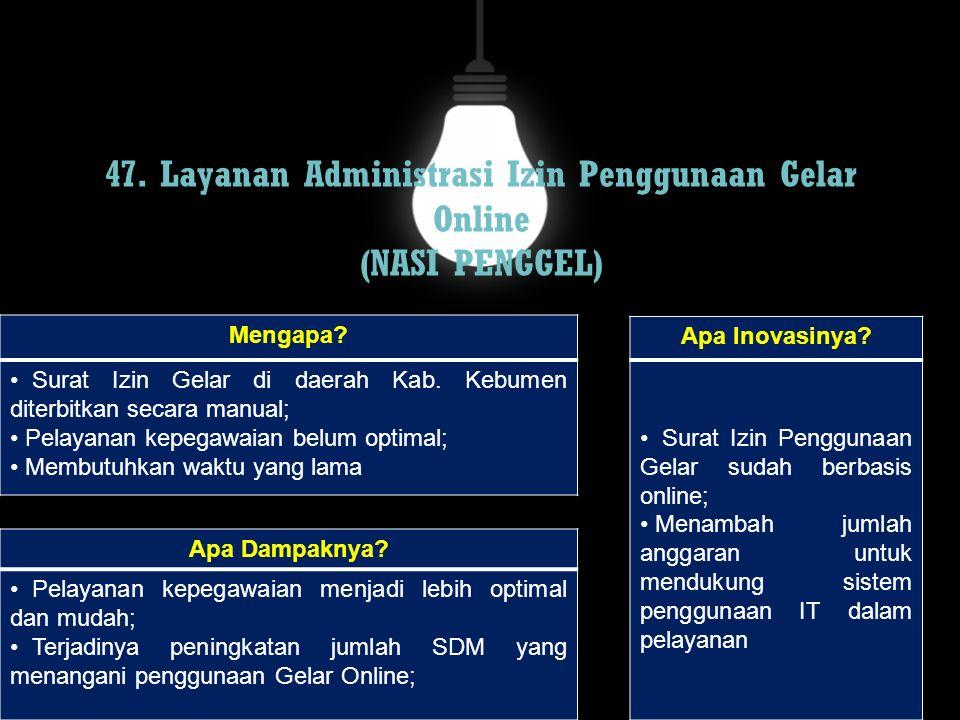 47. Layanan Administrasi Izin Penggunaan Gelar Online (NASI PENGGEL)
