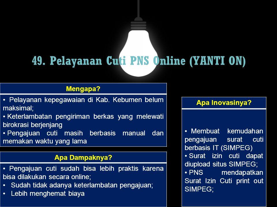 49. Pelayanan Cuti PNS Online (YANTI ON)