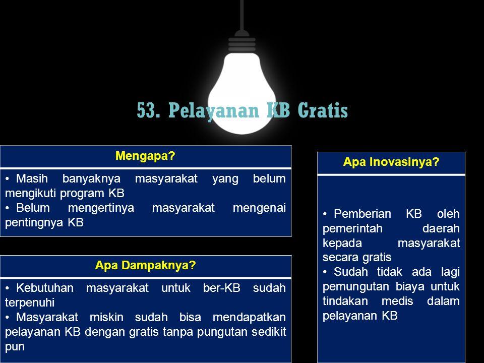53. Pelayanan KB Gratis Mengapa Apa Inovasinya