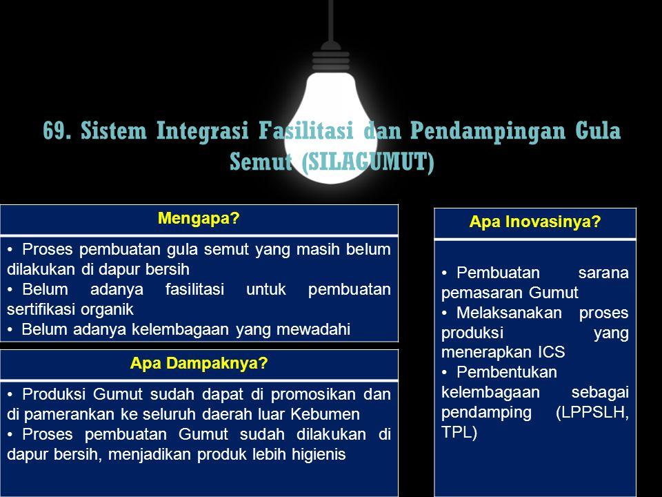 69. Sistem Integrasi Fasilitasi dan Pendampingan Gula Semut (SILAGUMUT)