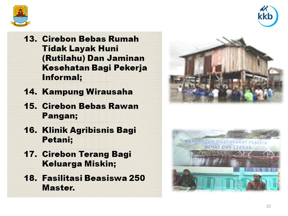 Cirebon Bebas Rumah Tidak Layak Huni (Rutilahu) Dan Jaminan Kesehatan Bagi Pekerja Informal;