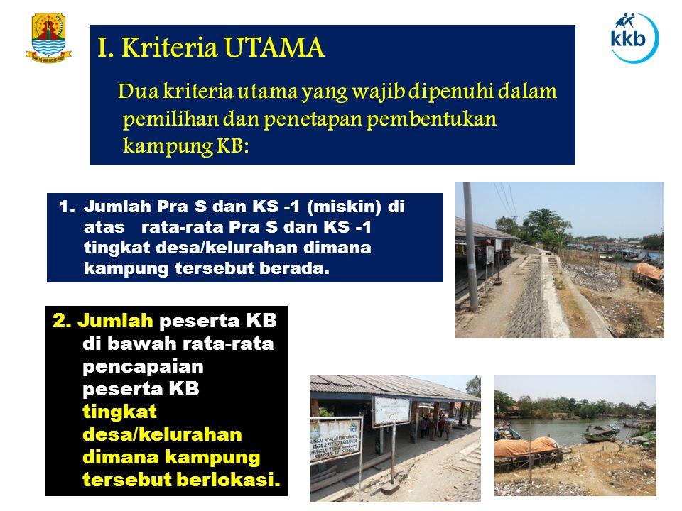 I. Kriteria UTAMA Dua kriteria utama yang wajib dipenuhi dalam pemilihan dan penetapan pembentukan kampung KB:
