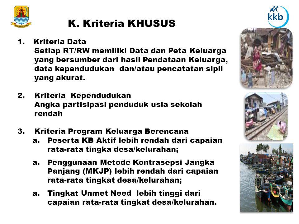 K. Kriteria KHUSUS 1. Kriteria Data