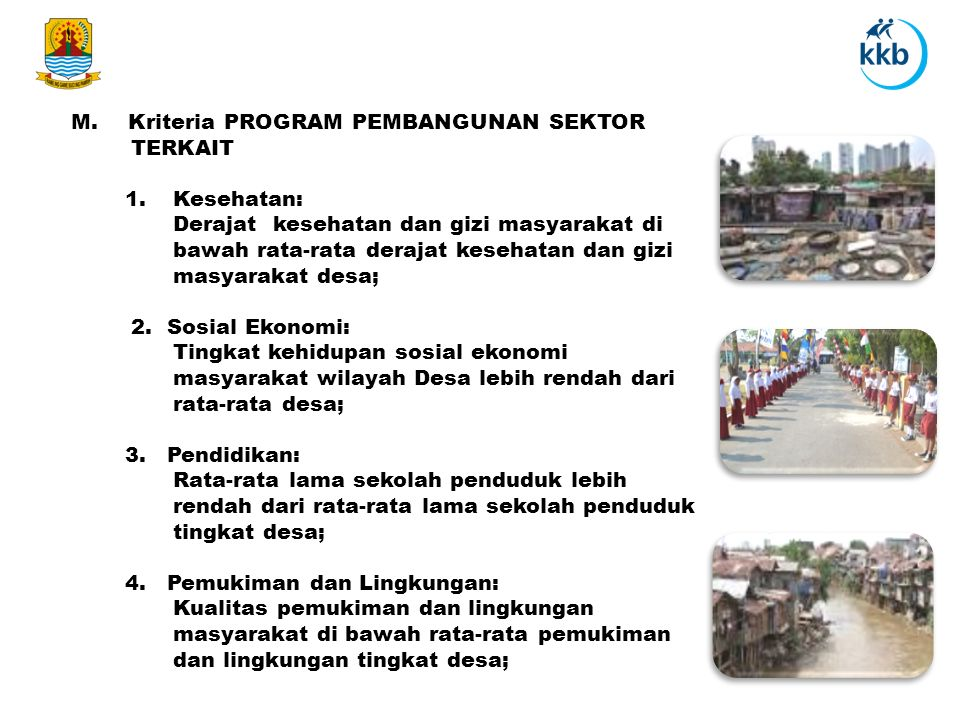 M. Kriteria PROGRAM PEMBANGUNAN SEKTOR TERKAIT
