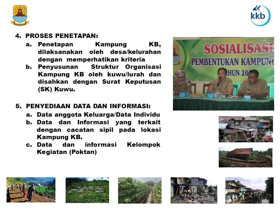 4. PROSES PENETAPAN: a. Penetapan Kampung KB, dilaksanakan oleh desa/kelurahan dengan memperhatikan kriteria.