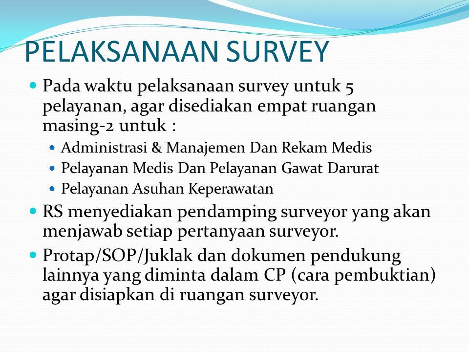 PELAKSANAAN SURVEY Pada waktu pelaksanaan survey untuk 5 pelayanan, agar disediakan empat ruangan masing-2 untuk :