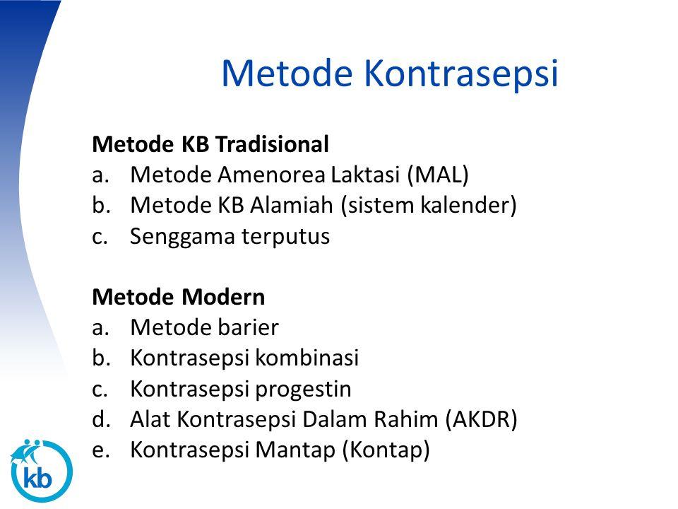 Metode Kontrasepsi Metode KB Tradisional Metode Amenorea Laktasi (MAL)