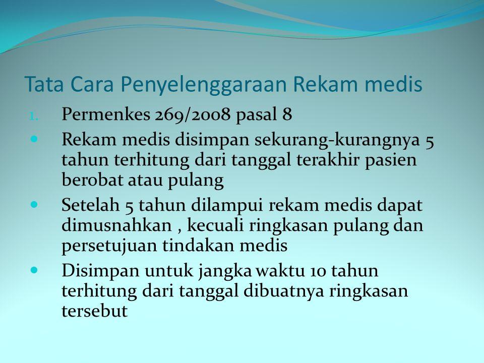 Tata Cara Penyelenggaraan Rekam medis