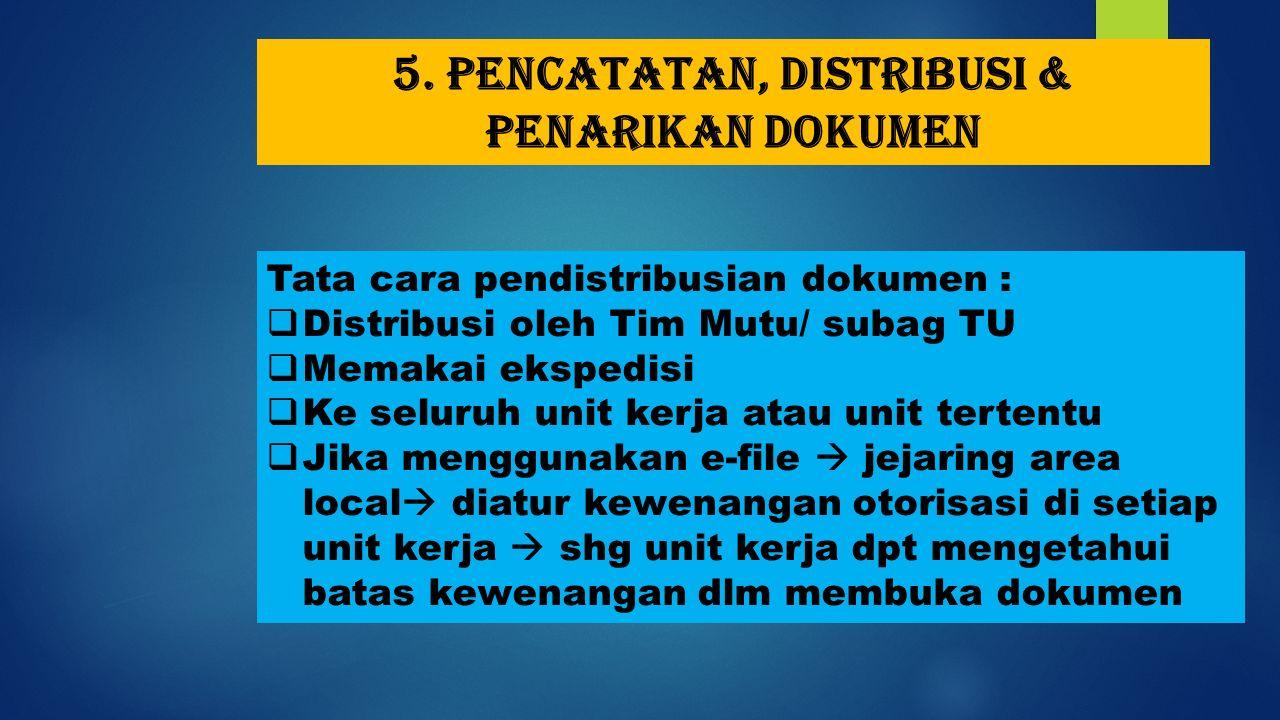 5. Pencatatan, distribusi & penarikan dokumen