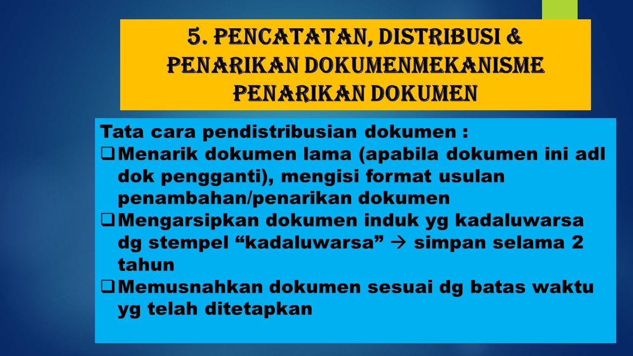5. Pencatatan, distribusi & penarikan dokumenMekanisme penarikan dokumen