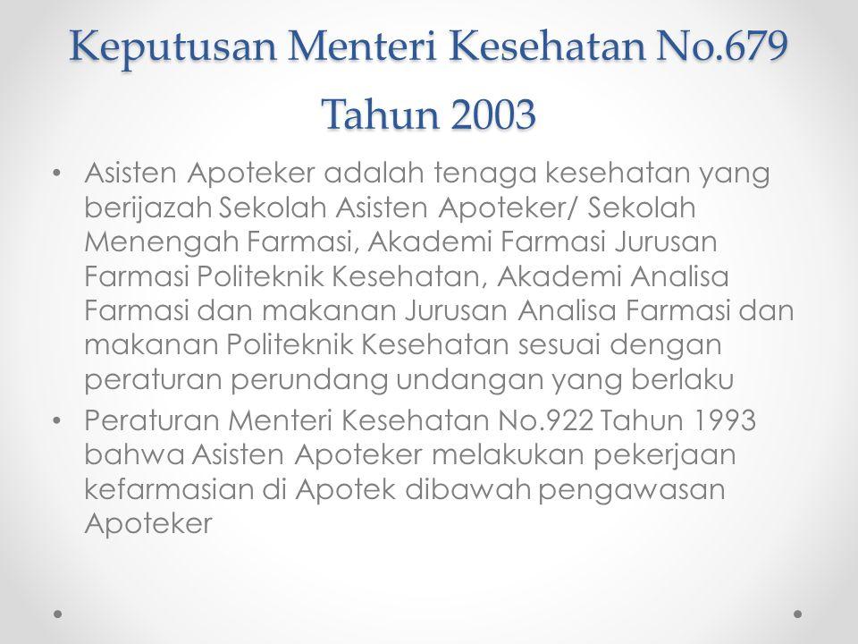Keputusan Menteri Kesehatan No.679 Tahun 2003
