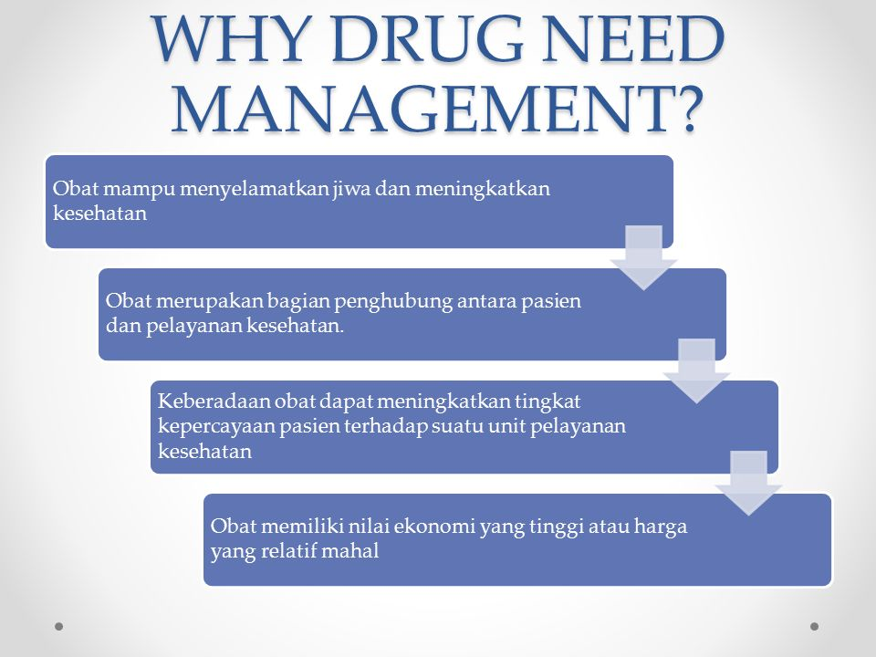 WHY DRUG NEED MANAGEMENT