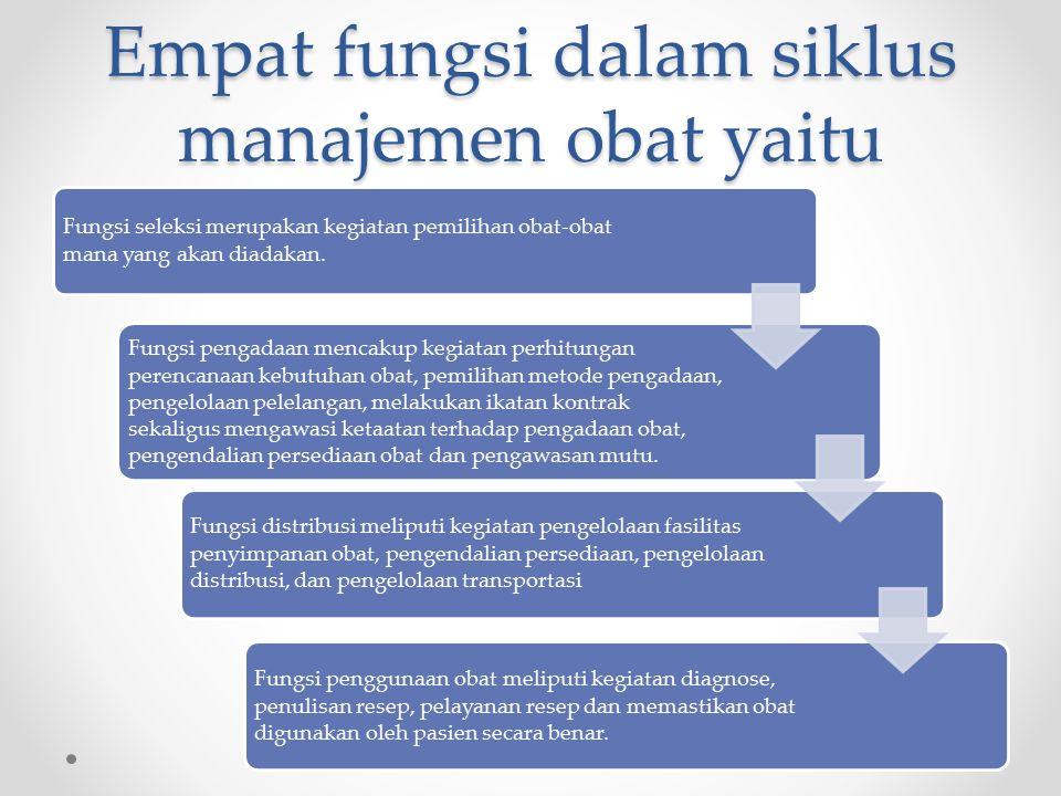 Empat fungsi dalam siklus manajemen obat yaitu