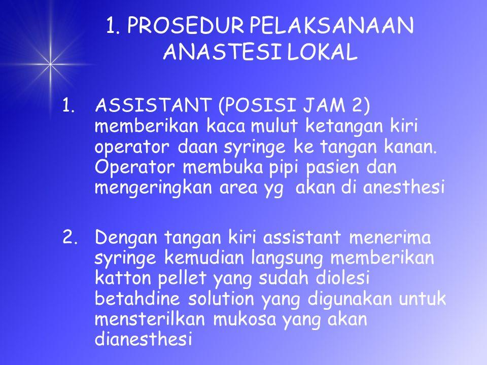 1. PROSEDUR PELAKSANAAN ANASTESI LOKAL