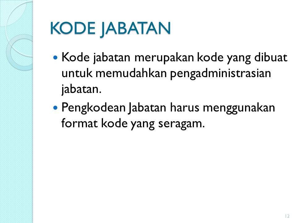 KODE JABATAN Kode jabatan merupakan kode yang dibuat untuk memudahkan pengadministrasian jabatan.