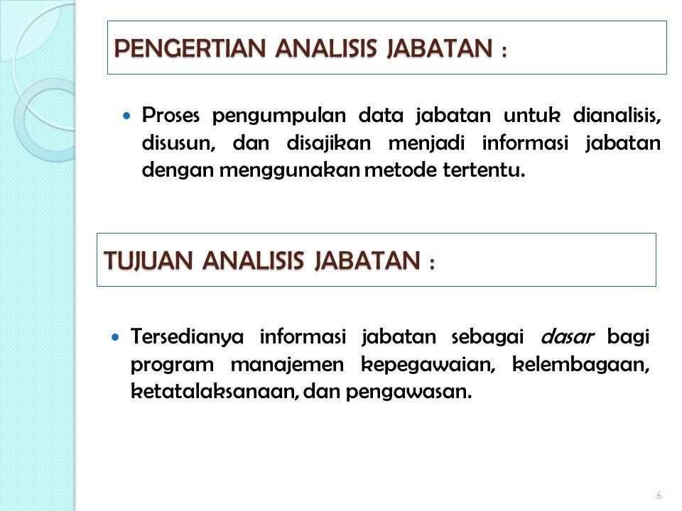 PENGERTIAN ANALISIS JABATAN :