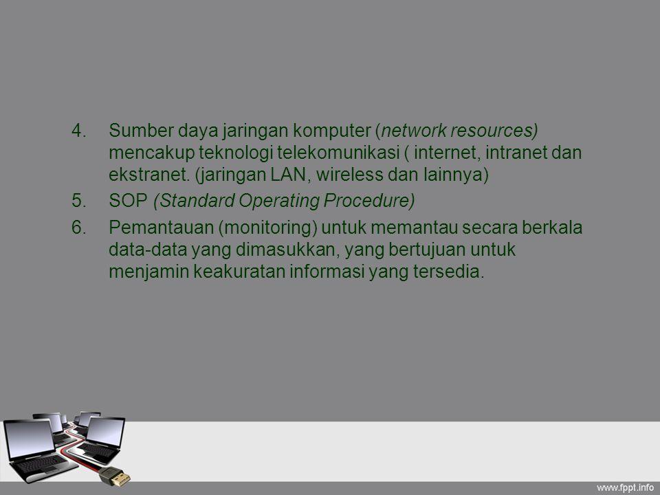 Sumber daya jaringan komputer (network resources) mencakup teknologi telekomunikasi ( internet, intranet dan ekstranet. (jaringan LAN, wireless dan lainnya)