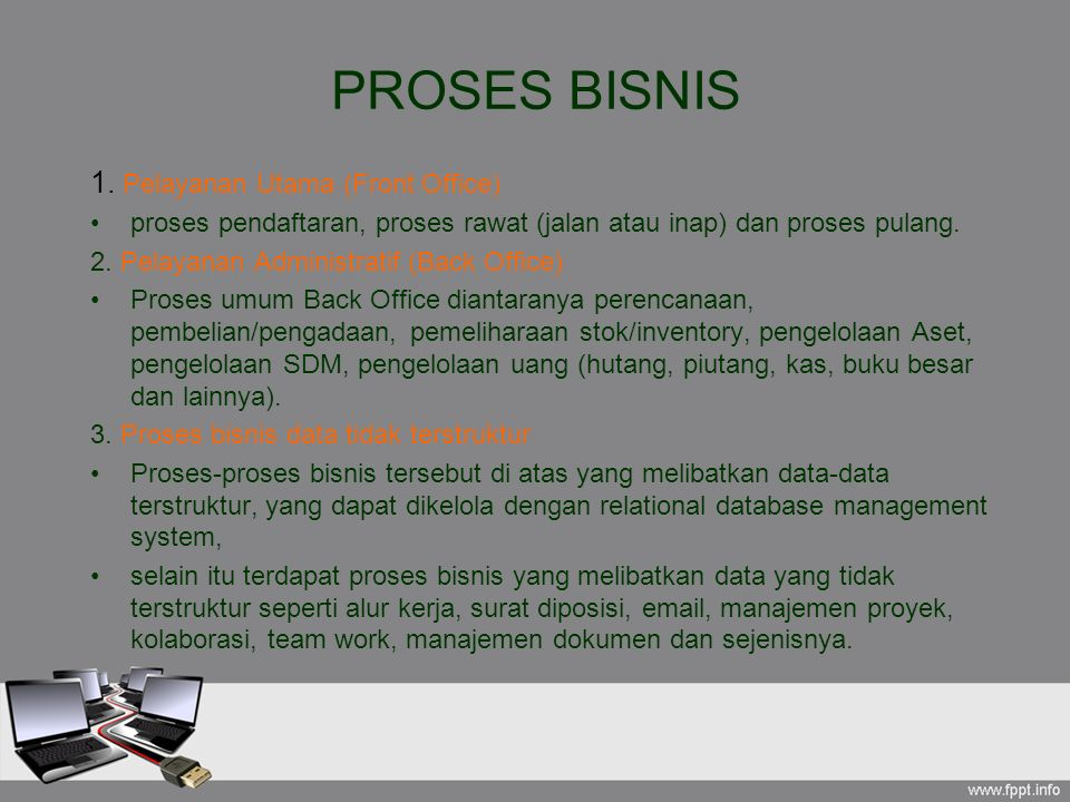 PROSES BISNIS 1. Pelayanan Utama (Front Office)