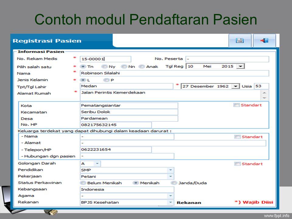 Contoh modul Pendaftaran Pasien